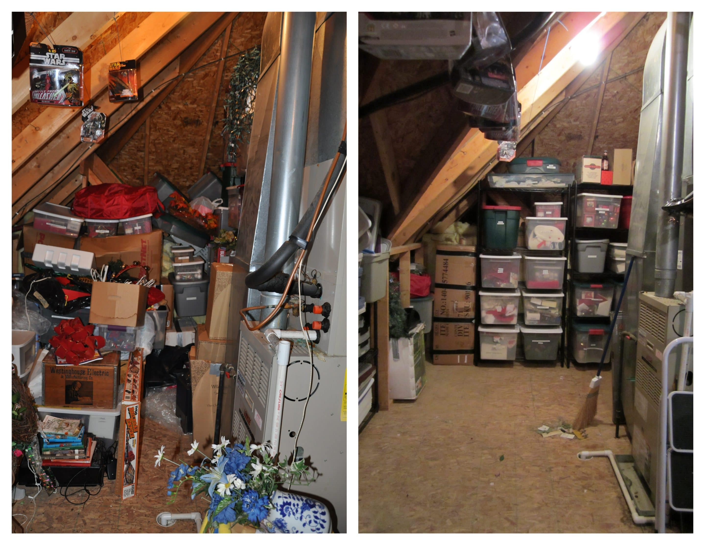 Before and after attic